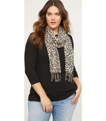 lane bryant women's cheetah print fringe scarf onesz cheetah