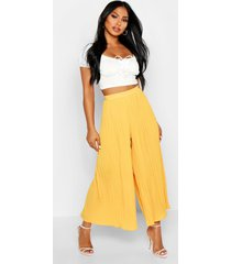high waist pleated wide leg culottes, mustard