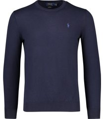 ralph lauren sweater navy slim fit ronde hals