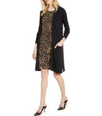 women's halogen open front pocket cardigan, size large - black