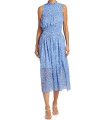 monique lhuillier women's printed sleeveless smocked dress - cornflower blue - size 4