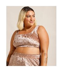 top cropped de plush veludo plus size alça larga decote reto mindset rosê