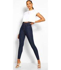 skinny jeans met hoge taille, donkerblauw