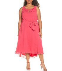 plus size women's tahari sleeveless chiffon midi dress, size 14w - coral