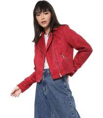 jaqueta cropped colcci suede trançada vermelha