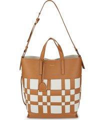 3.1 phillip lim women's odita lattice leather shoulder bag - camel white