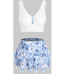 tiered skirted printed tankini swimwear