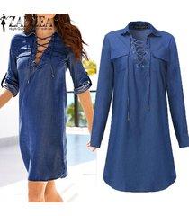 zanzea vestido denim mujer otoño mini vestido de manga larga de la solapa del cuello del vendaje ata para arriba los vestidos casual vestidos tamaño más -azul