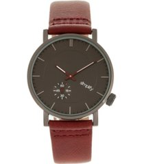 simplify quartz the 3600 charoal dial, genuine maroon leather watch 40mm