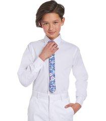 tommy hilfiger big boys 2-pc. stretch solid dress shirt & floral-print tie set