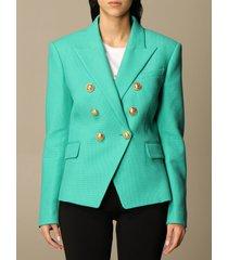 balmain blazer balmain double-breasted jacket in pique cotton
