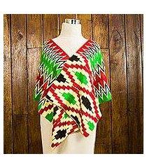 cotton blend kente shawl, 'akan blessing' (3 strips) (ghana)