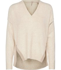 fuzzy v-neck knit with side slits gebreide trui crème scotch & soda