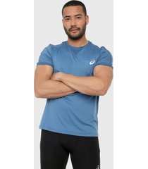 camiseta azul-blanco asics short sleeve