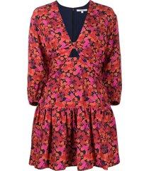 derek lam 10 crosby talia modern hibiscus short dress - orange