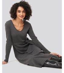 trendyol binding detailed midi dress - grey