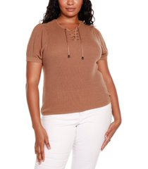 belldini black label plus size short puff sleeve sweater with lace up detail at front