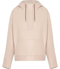 fenty oversized faux leather hoodie - pink