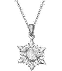 """cubic zirconia 18"""" christmas pendant necklace in sterling silver in ornament box, created for macy's"""