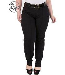 calça de sarja slim plus size - confidencial extra fit básica - preto