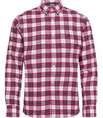 d2. flannel check reg bd overhemd casual rood gant