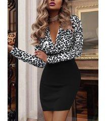 abrigo diseño leopard deep v cuello vestido