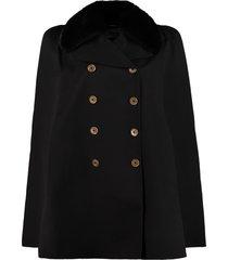 fendi fur collar wool cape coat