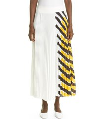 proenza schouler stripe asymmetrical pleated crepe skirt, size 6 in yellow multi at nordstrom