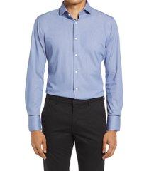 men's big & tall nordstrom trim fit non-iron flexweave dress shirt, size 18.5 - blue