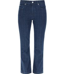 red valentino cropped laser print jeans