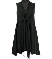 allsaints v-neck zipped up dress - black