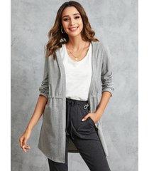 yoins gris con cordón en la cintura con capucha diseño cárdigan con frente abierto