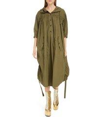 women's dries van noten drimm ruched hooded cotton midi dress