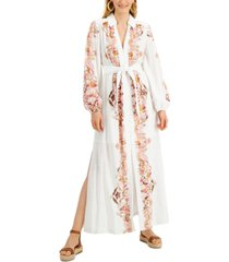 inc petite cotton embroidered maxi dress, created for macy's
