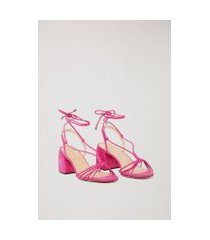 sandália de camurça salto médio amarraçã rosa - 35