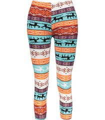 stylish elastic waist slimming christmas print women's pants