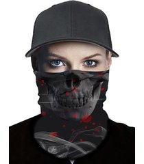 outdoor skull smoke print elastic round scarf