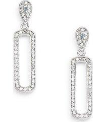 0.39 tcw diamond & 14k white gold oval drop earrings