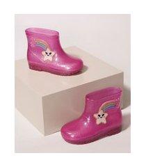 galocha infantil luelua arco-íris com glitter pink