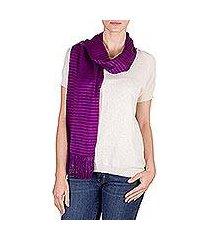 cotton scarf, 'striped orchid' (guatemala)