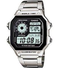 reloj casio ae 1200whd 1a plateado dial cuadrado luz led