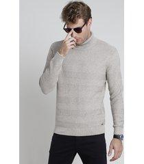 suéter masculino em tricô texturizado gola alta bege claro