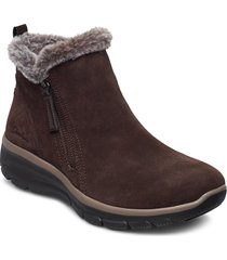 womens easy going shoes boots ankle boots ankle boot - flat brun skechers