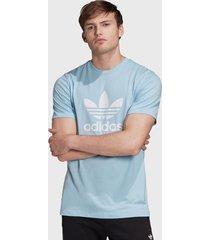 polera adidas originals trefoil t-shirt celeste - calce regular