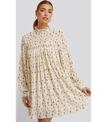 na-kd boho structured printed dress - white