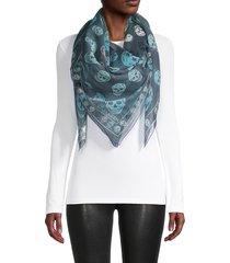 alexander mcqueen women's box skull silk scarf - sapphire