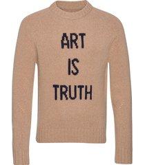 phil mw art is truth pull intarsia devant stickad tröja m. rund krage beige zadig & voltaire
