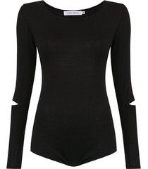 gloria coelho long sleeves knit bodysuit - black