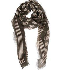 alexander mcqueen skull print fringe edge biker scarf