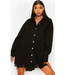 tall oversized spijkerblouse met versleten zoom, zwart